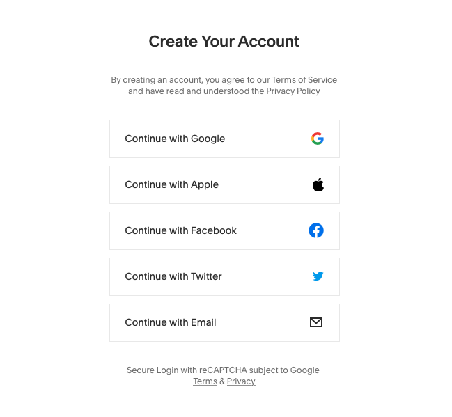 Create Account with Squarespace using existing accounts