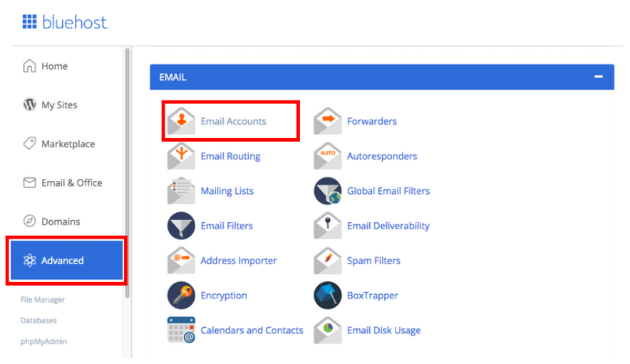 Set Up Free Email in Bluehost
