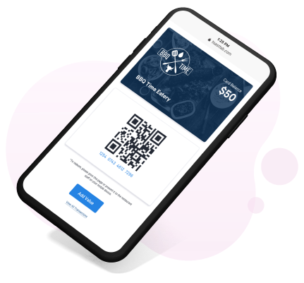 Toast digital gift cards on mobile