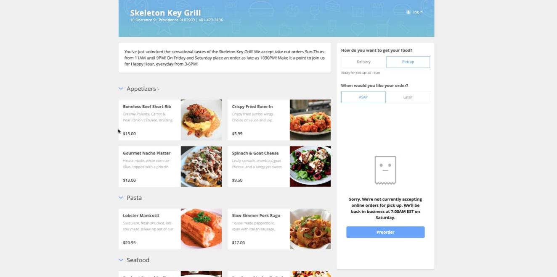 Upserve online menu customer view