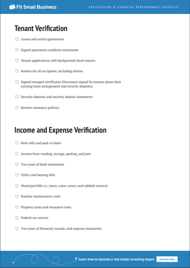 Tenant Verification and Income and Expense Verification