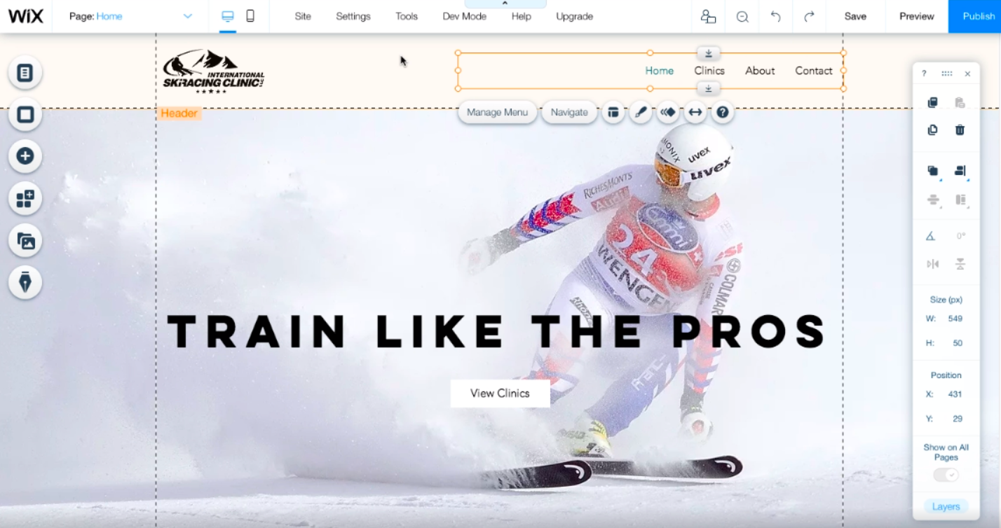 Wix live on-page site editor