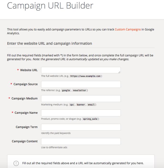Google Analytics Campaign Link Builder