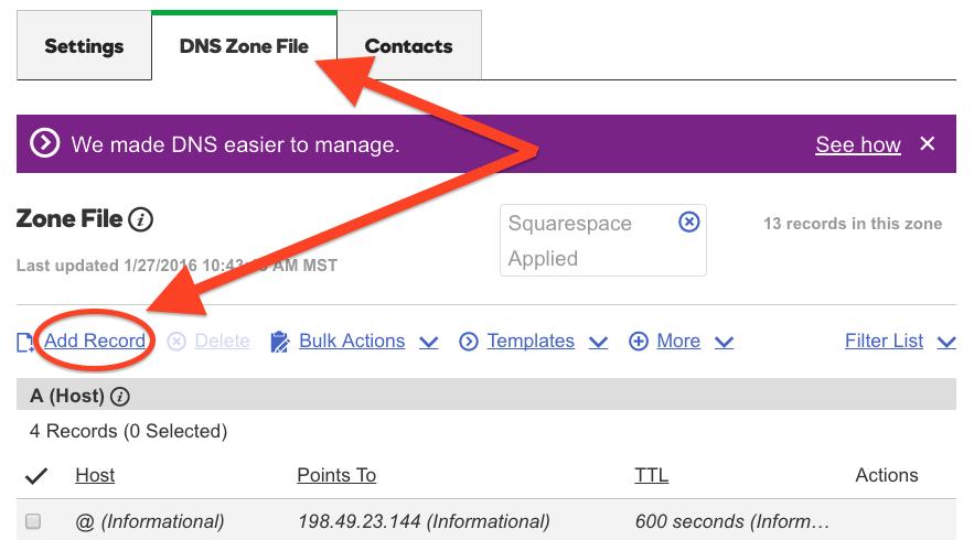Add Record to DNS Zone File