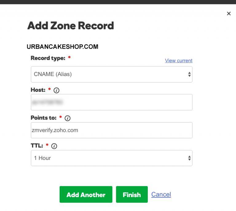 Adding Zone Record in GoDaddy