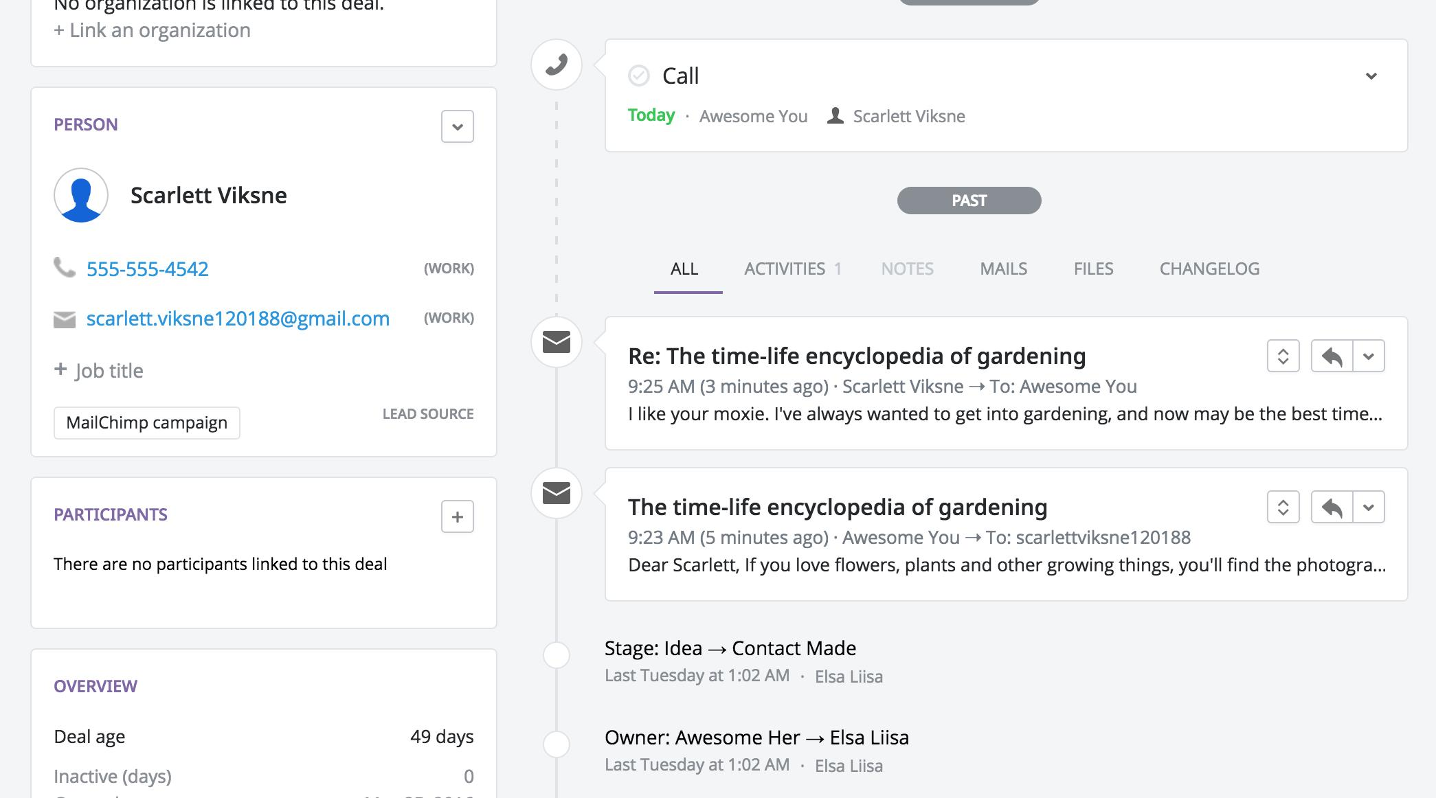 Pipedrive email sync and activity tracking