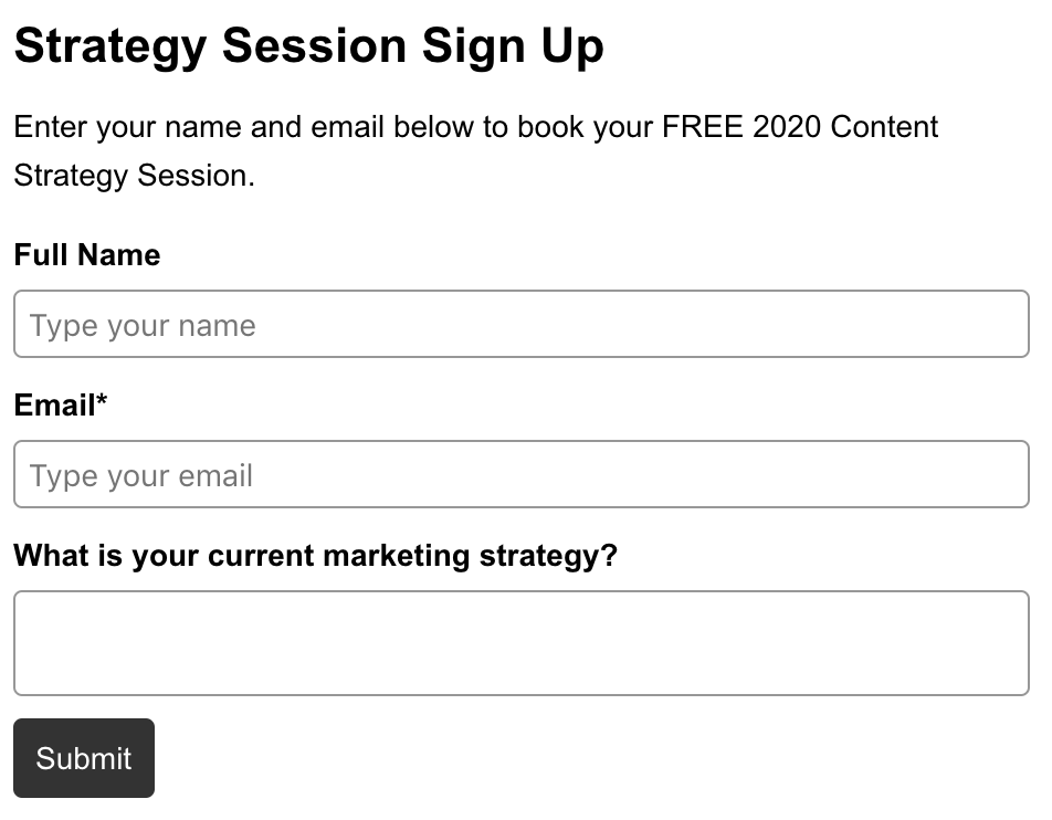 free strategy session sign up page