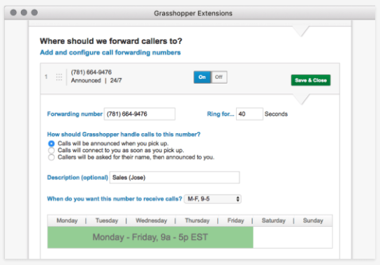 Grasshopper's incoming call management dashboard