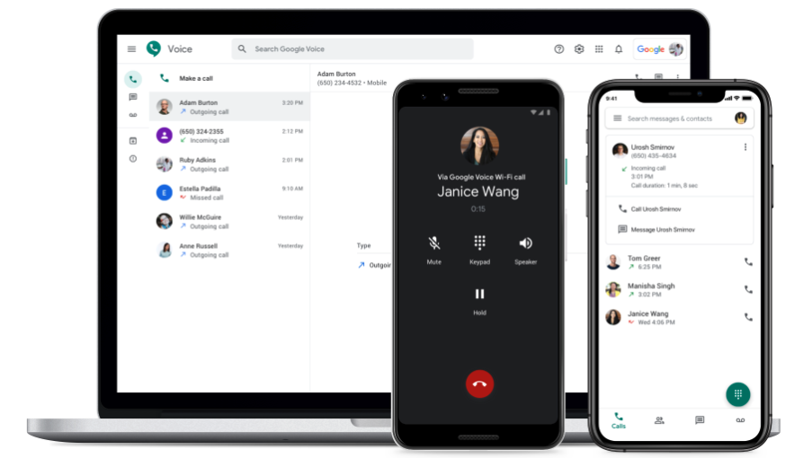 Take Google Voice calls on your laptop, smartphone, or landline.
