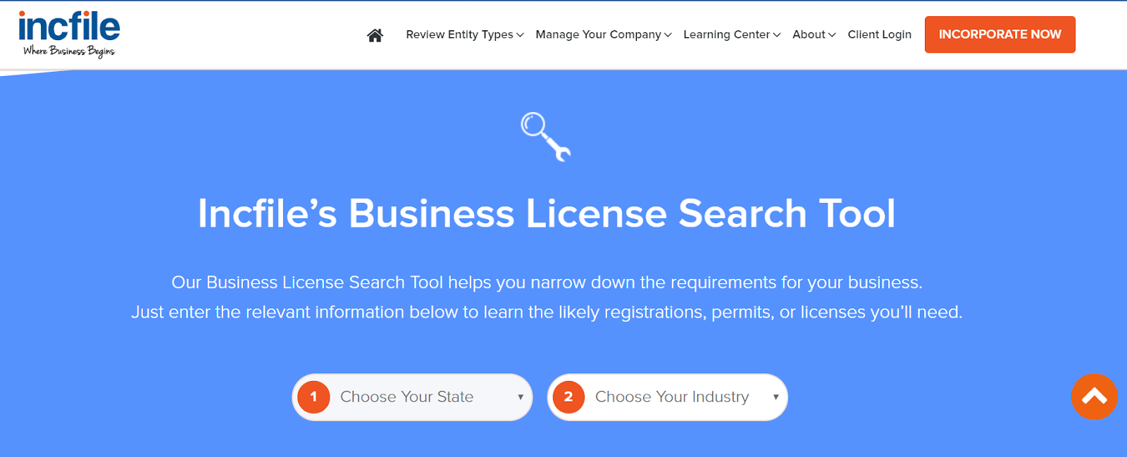 incfile business license search tool interface