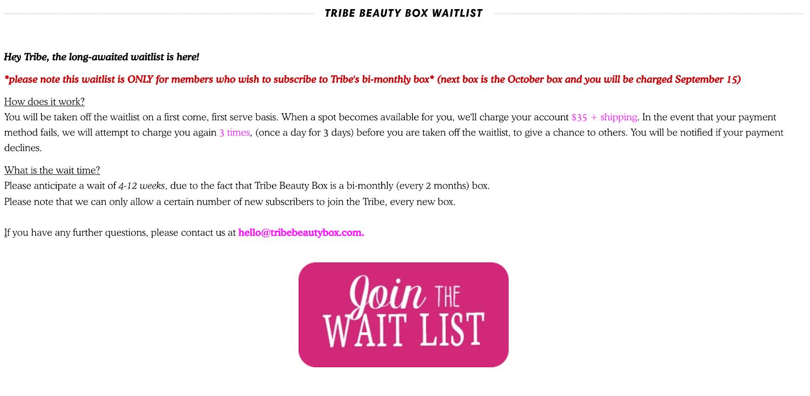join the wait list