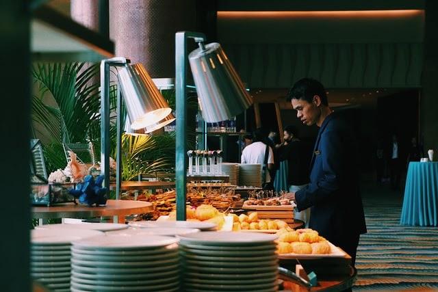 man in a buffet