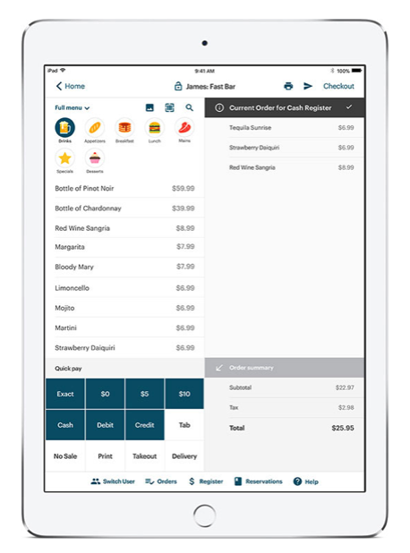 "TouchBistro has a ""fast-bar"" register mode"