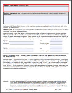 sba form 413 with section 7: other liabilities highlighted