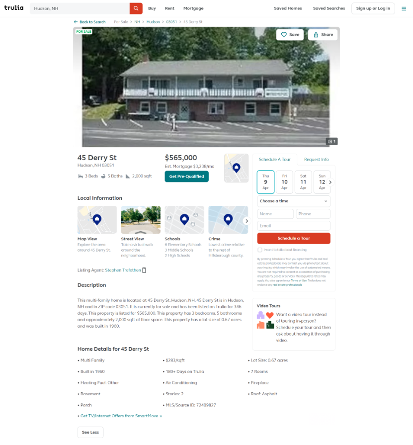 Trulia Sample Residential Property for Sale