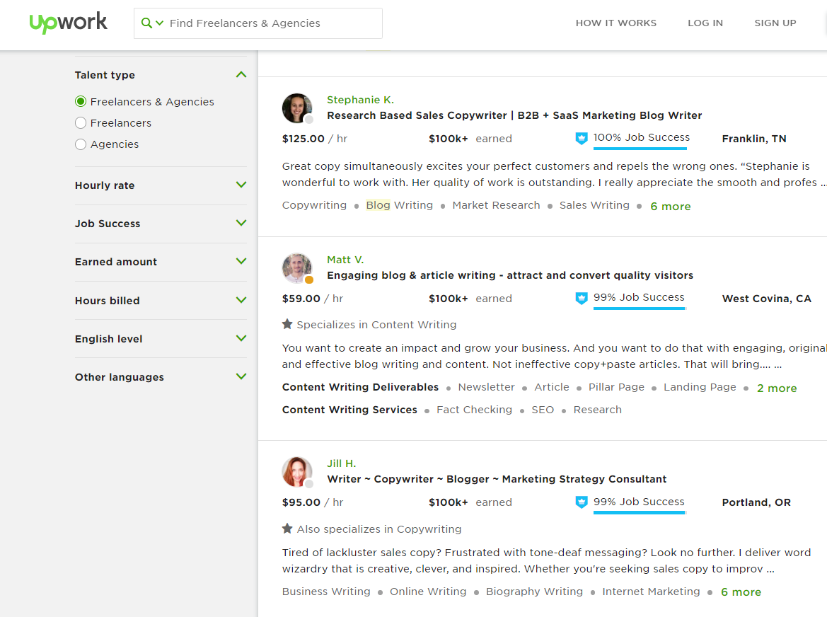upwork freelance bloggers interface