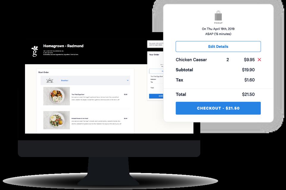 Toast's online menu on desktop