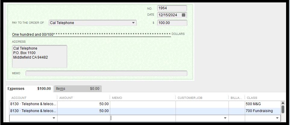 QuickBooks Nonprofit Expenses to Multiple Classes