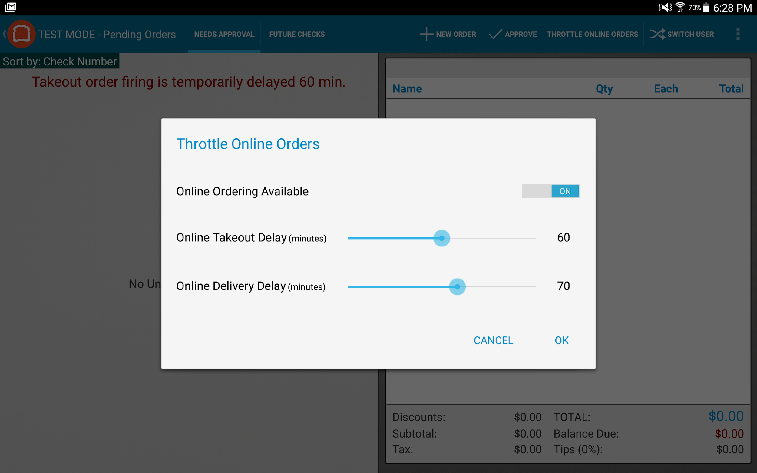 Toast interface online orders