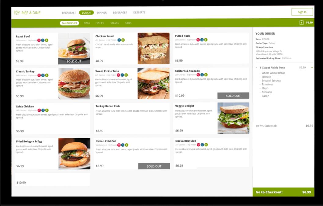 Lavu's online ordering menu