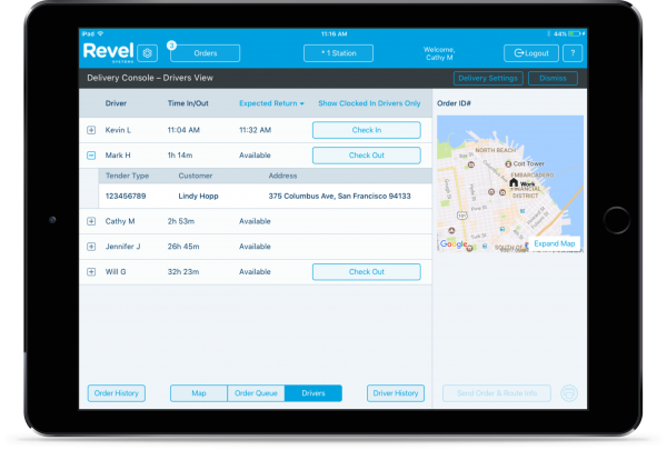 Revel Systems driver management features with map on a tablet.