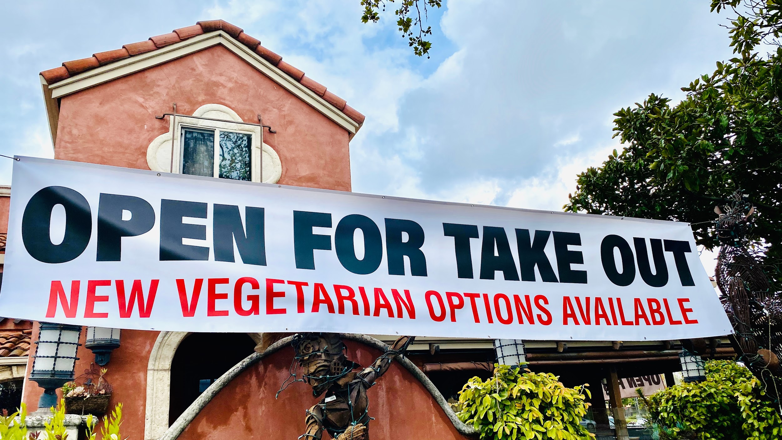 Open for take out restaurant banner