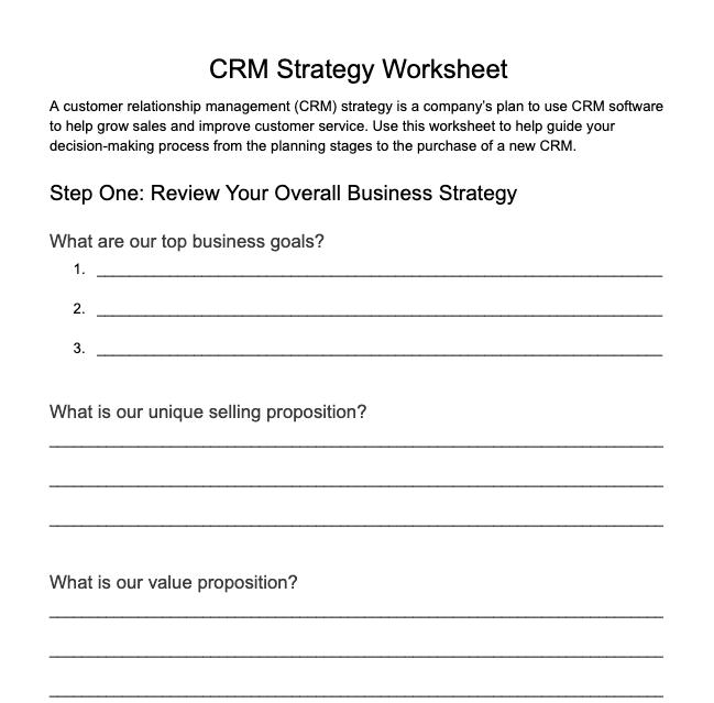 CRM Strategy Worksheet