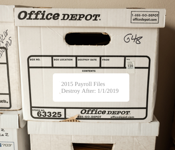 A box with 2015 Payroll files