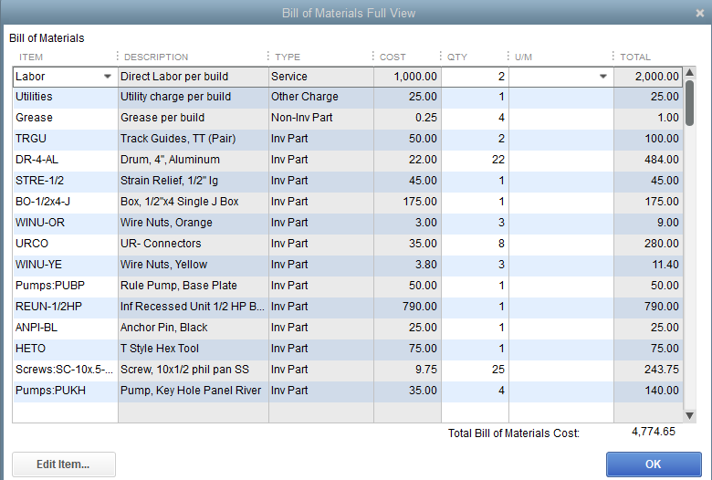 Quickbooks Bill of Materials for Inventory Assembly