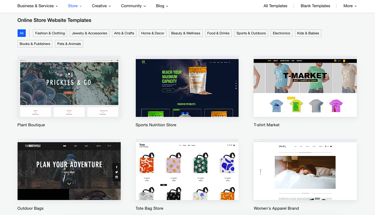 Browse Wix Online Store Templates