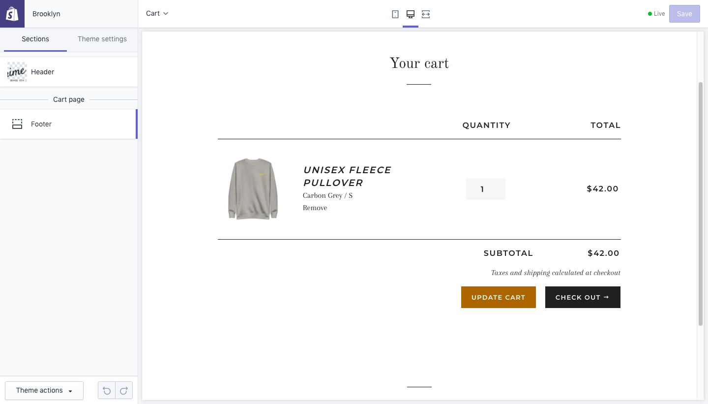 Shopify Editing Interface