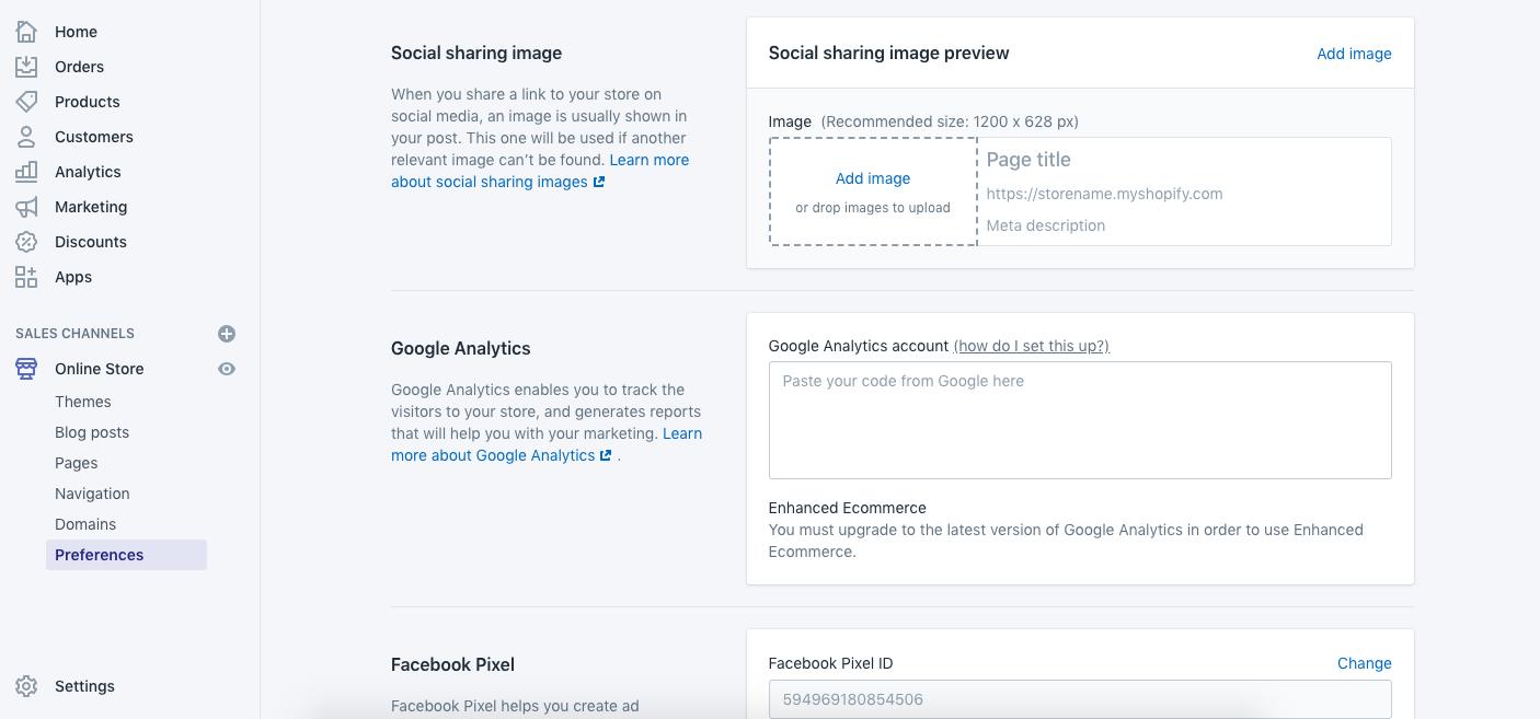 Adding Google Analytics to Shopify