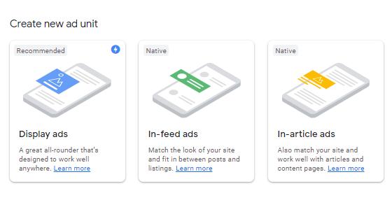 Adsense three primary ad units