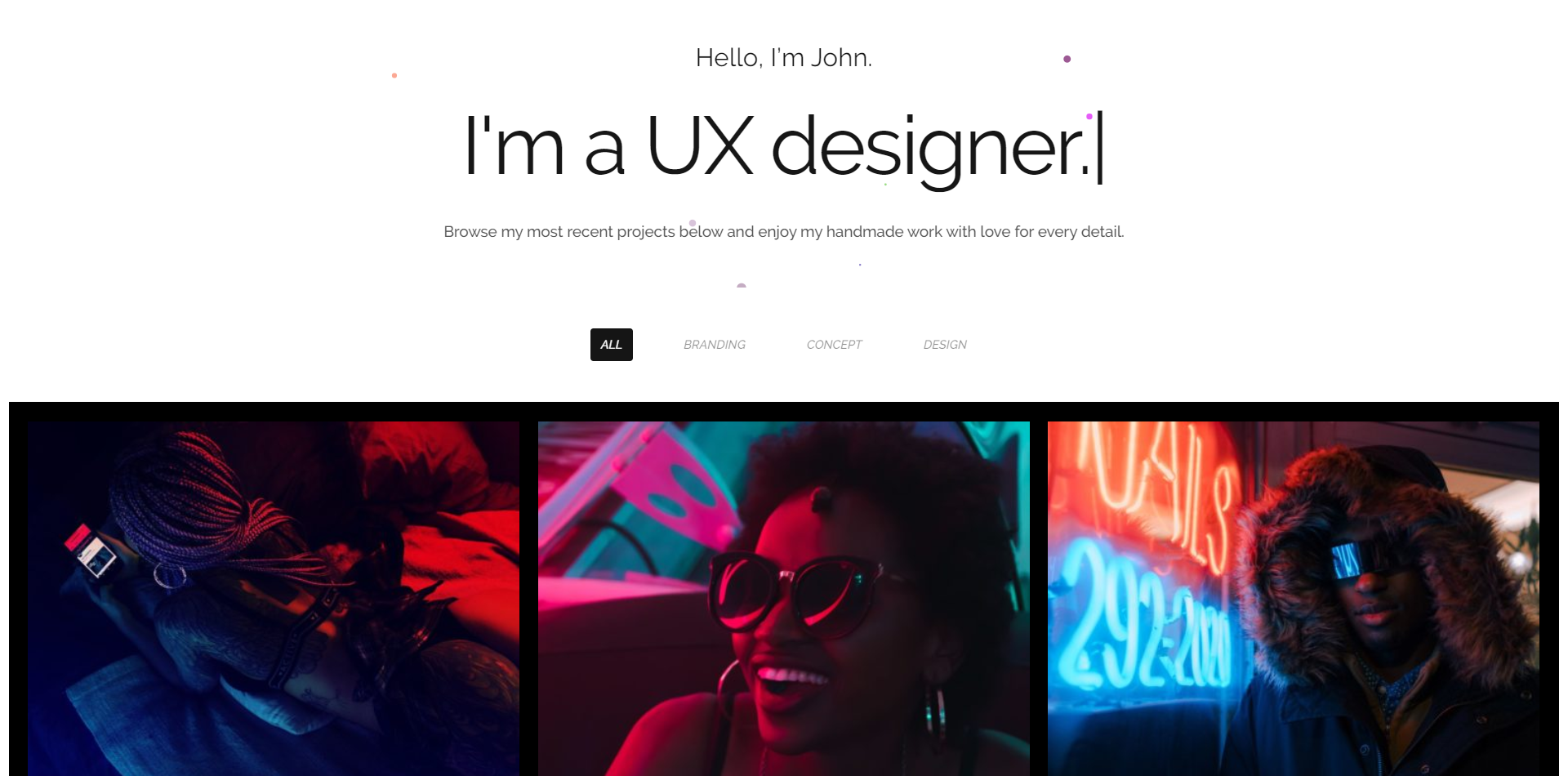 Brooklyn WordPress theme homepage - I'm a UX designer screenshot