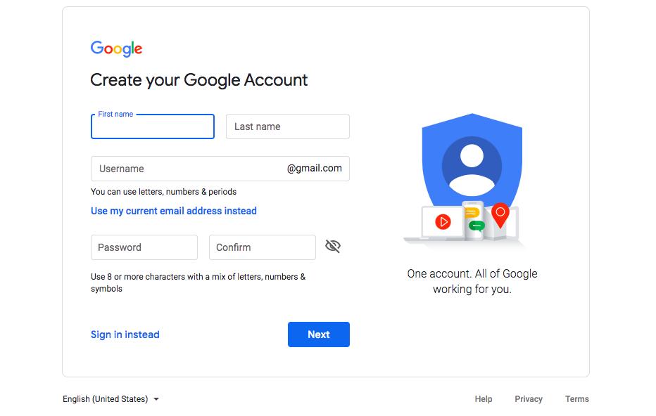 Sign up form - Create Google Analytics Account