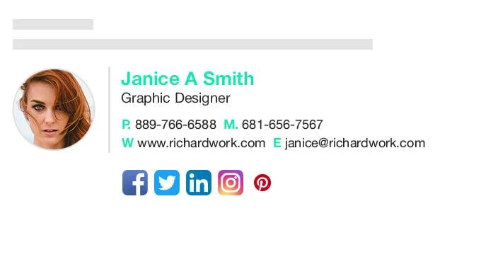 Designhill email signature example