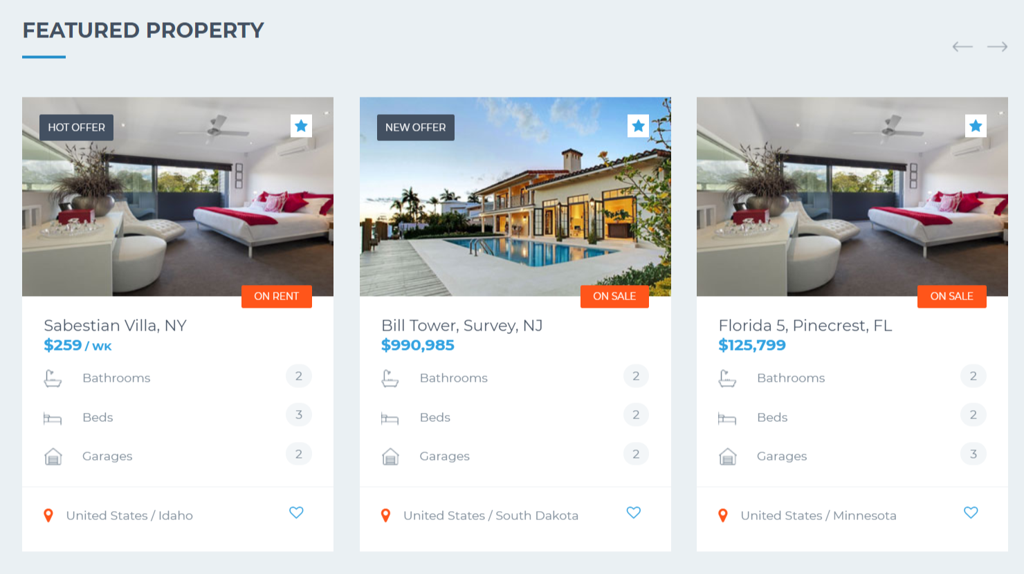 Dreamvilla WordPress theme - Featured Property section