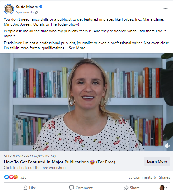 Example of a paid Facebook video advertisement:sponsored post