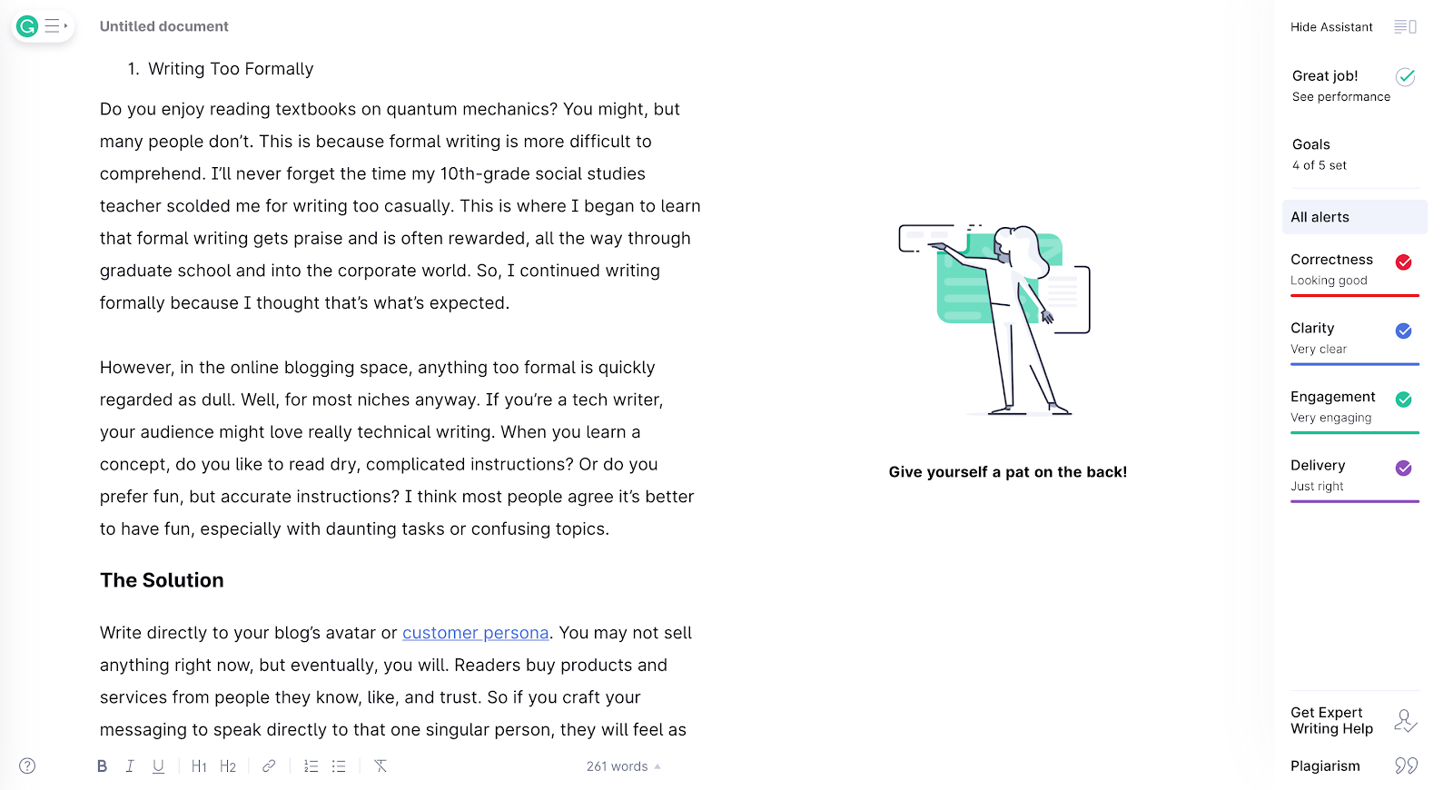 Grammarly tool interface