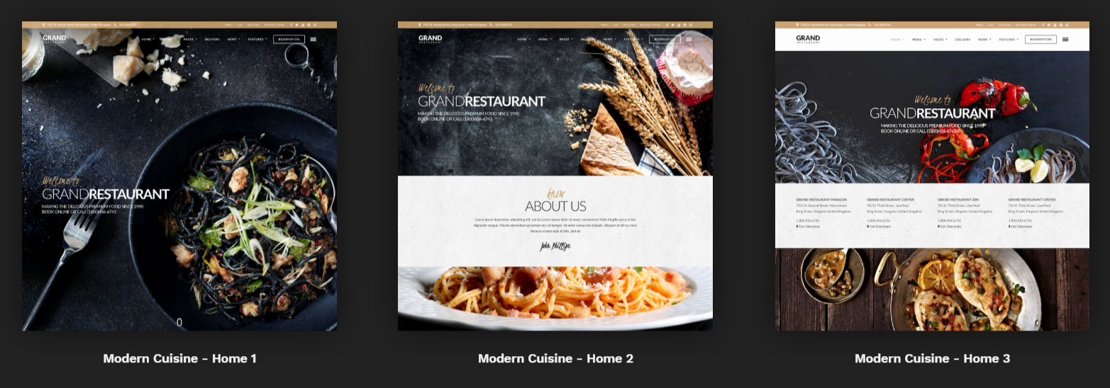 Grand Restaurant WordPress theme for restaurants homepage layouts