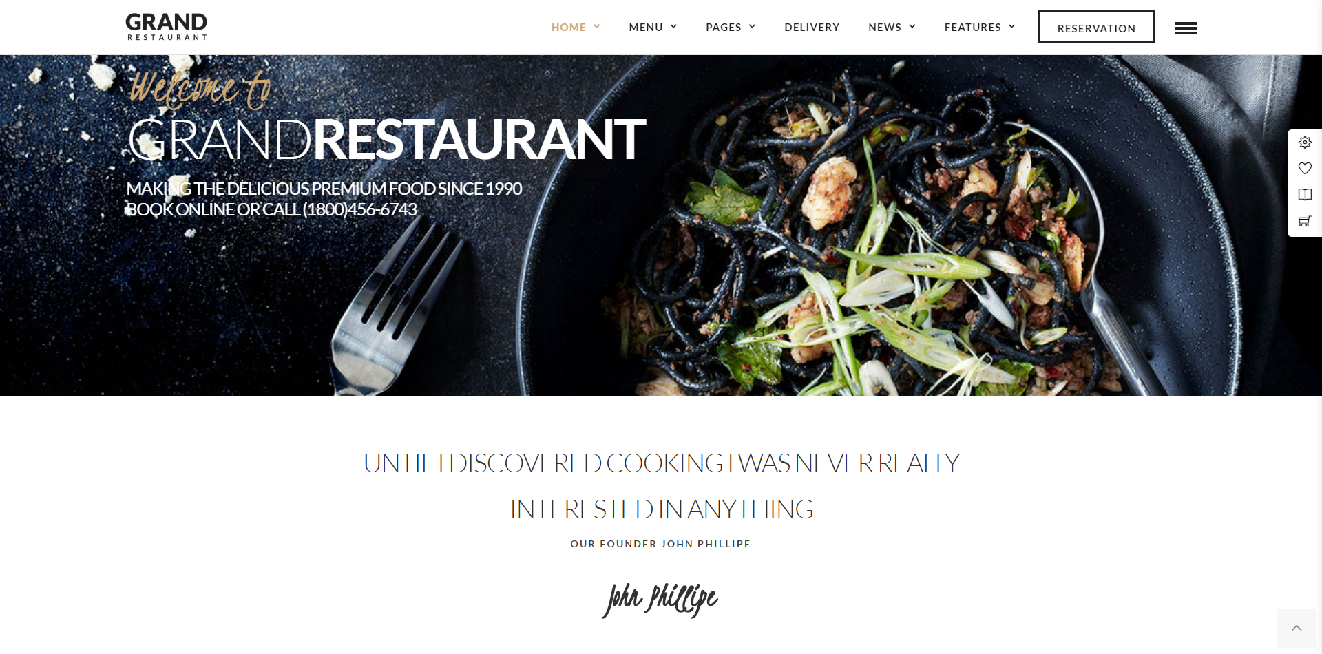Grand Restaurant WordPress theme screenshot