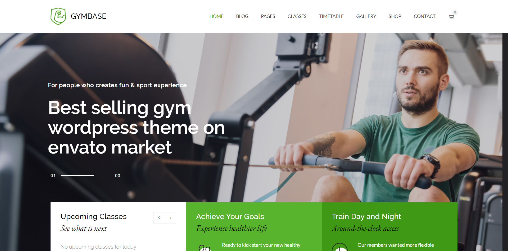 Gymbase WordPress theme Homepage screenshot