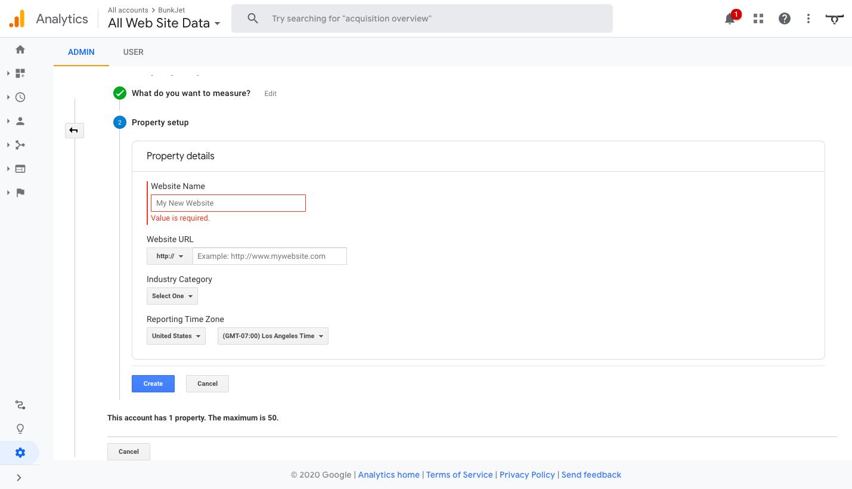 Set Up Property Details for Google Analytics