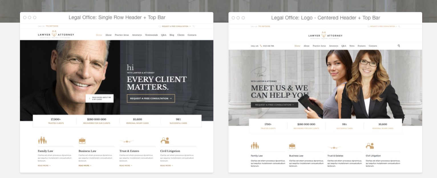 Law Firm WordPress theme Homepage Layouts