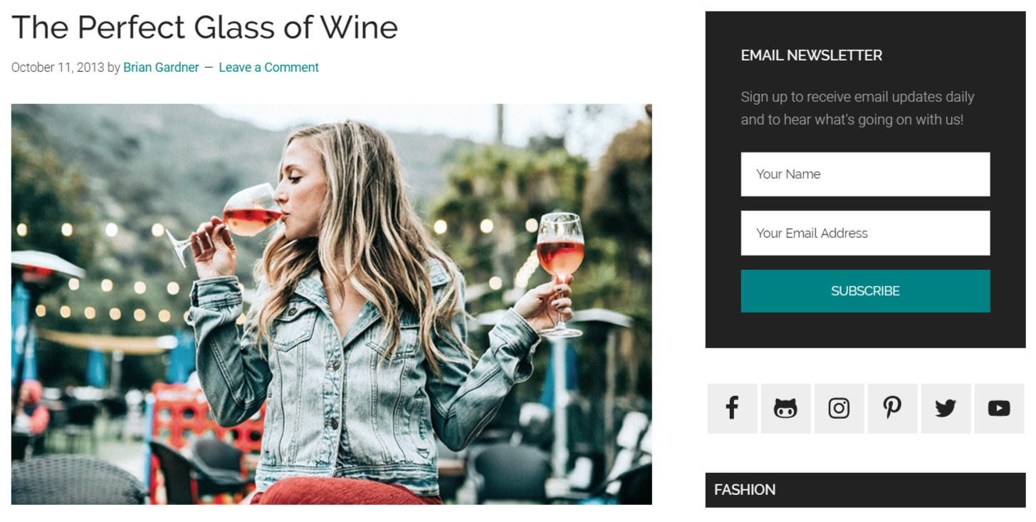 Magazine Pro Blog Post - The Perfect Glass of Wine Screenshot