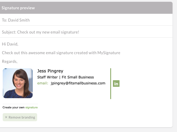 MySignature email signature example