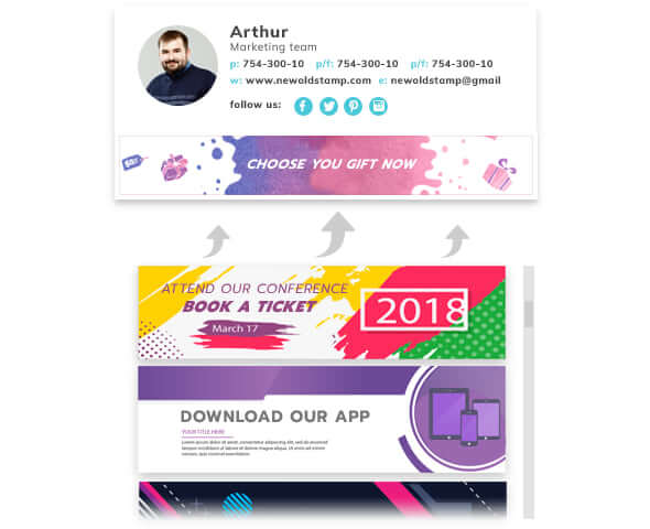 Newoldstamp email signature example with CTA