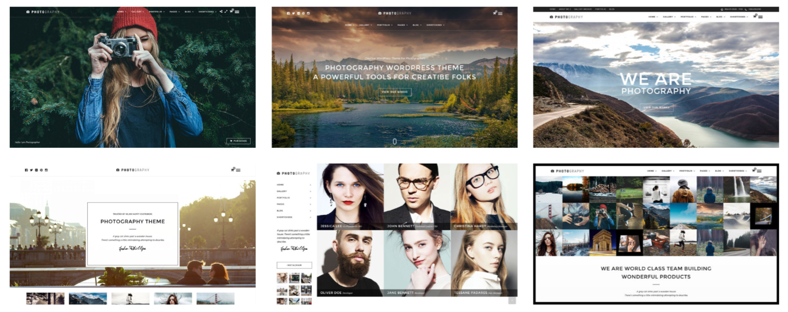Photography WordPress theme homepage layouts Demos
