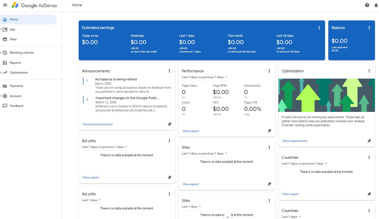 Publisher Adsense interface