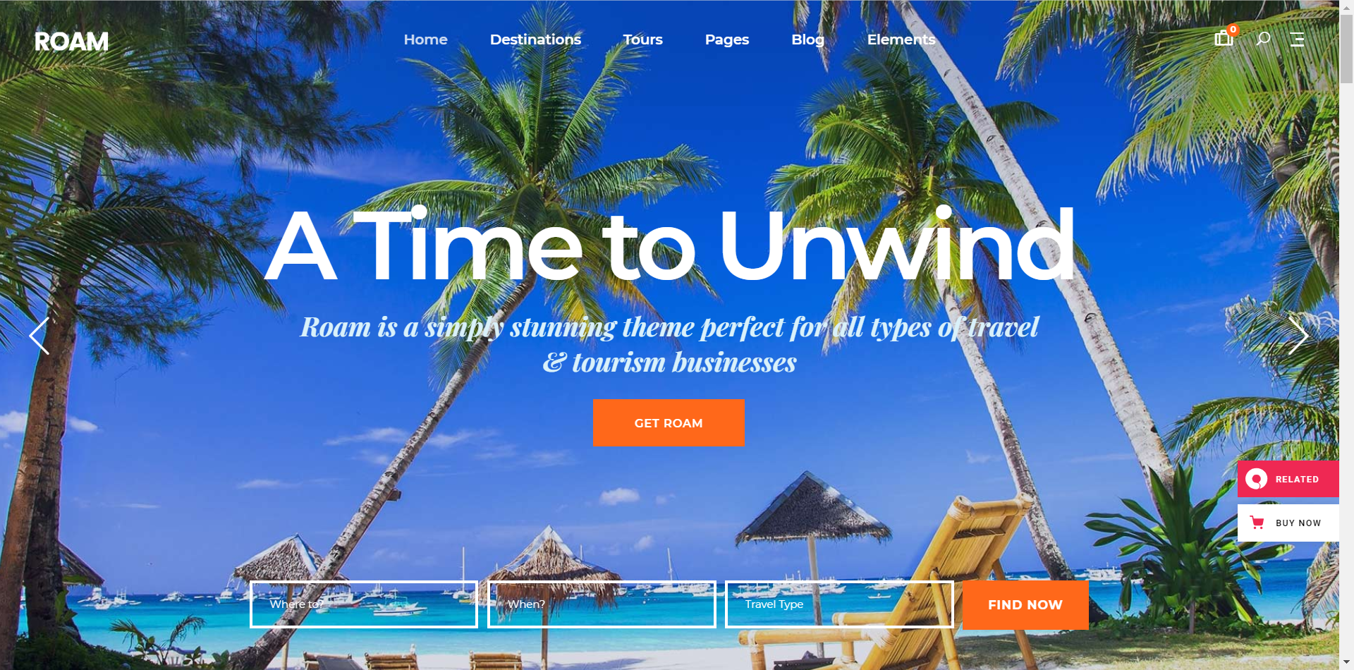 Roam Travel WordPress Theme Screenshot - A Time to Unwind Slider